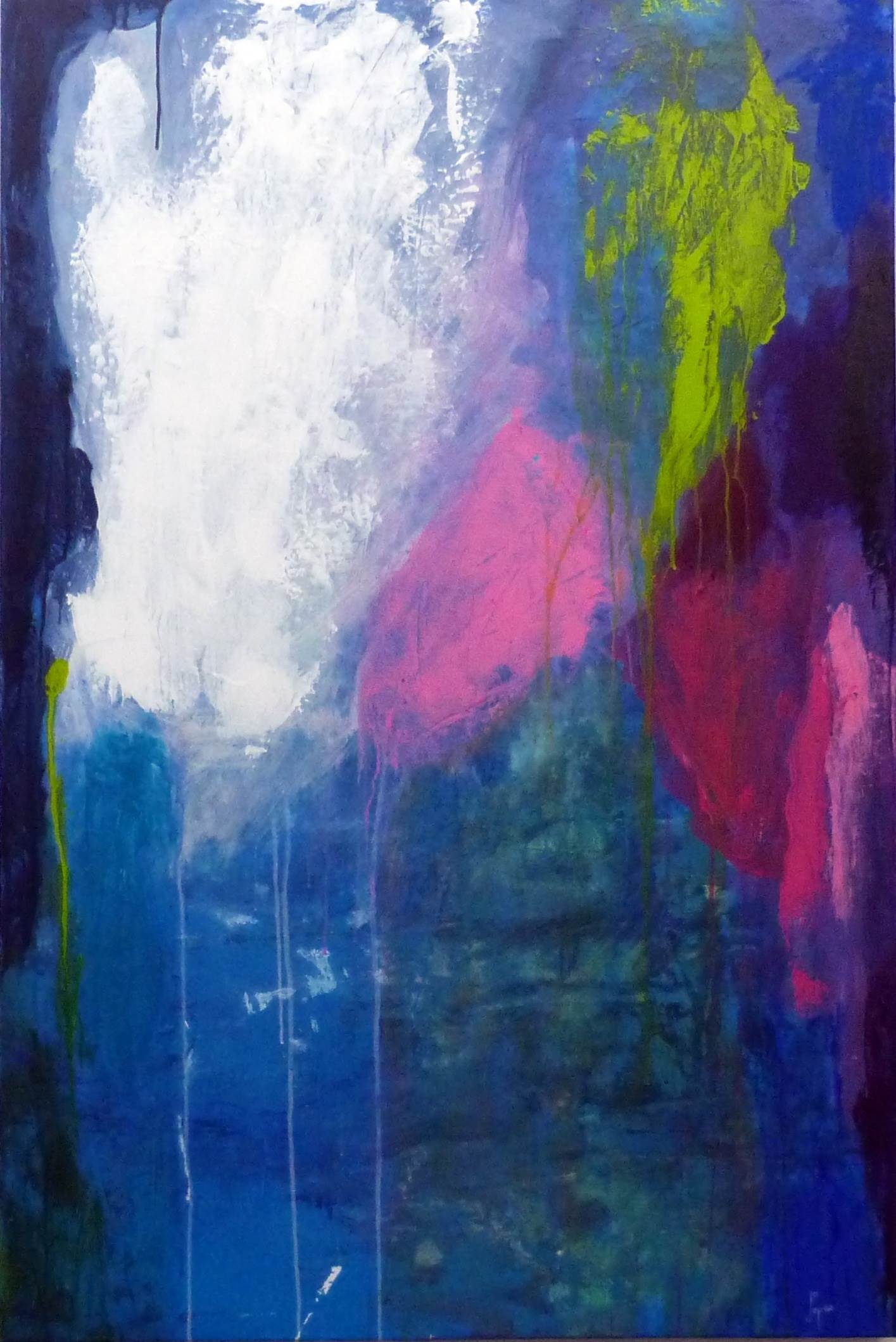 Nuvem Rosa - Casa Azul, original Abstract Acrylic Painting by Joana Lopes