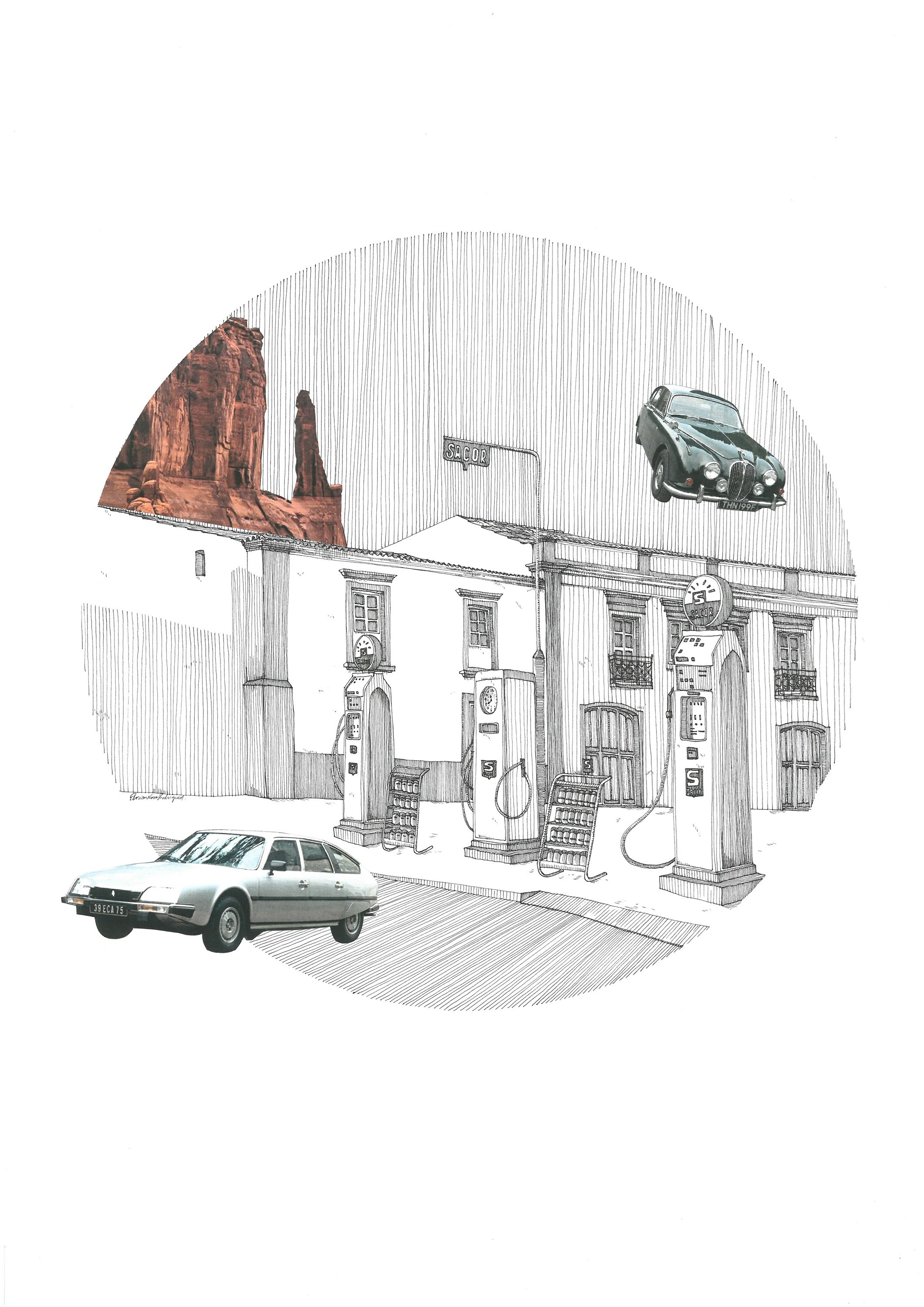 Jaguar Mark 1, original Architecture Collage Drawing and Illustration by Florisa Novo Rodrigues