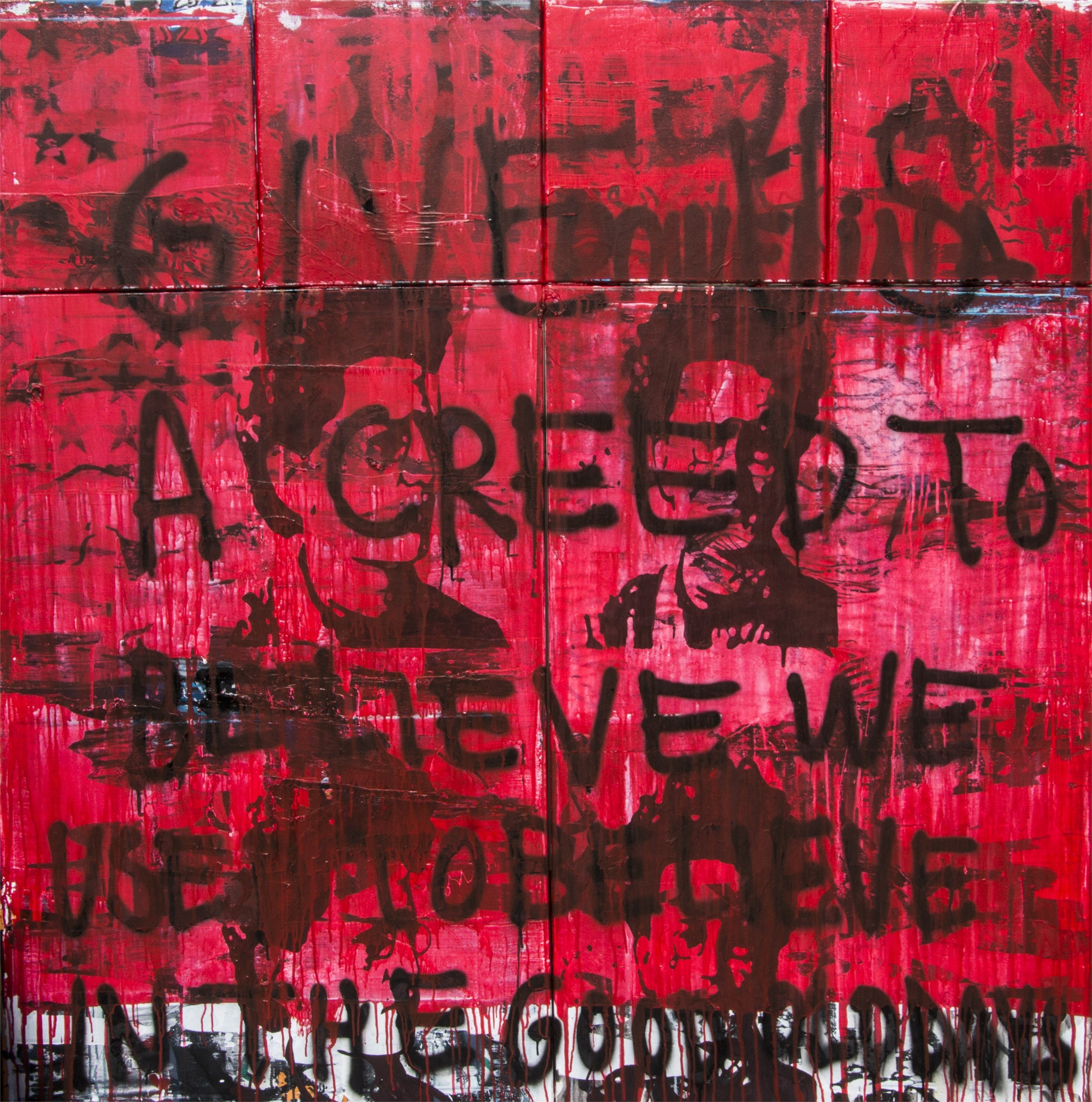 Give me a creed to believe, original Avant-Garde Acrylic Painting by Paulo Moreira