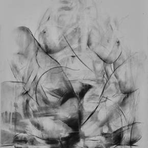 Erota (seated muse'1), original Body Charcoal Drawing and Illustration by Juan Domingues