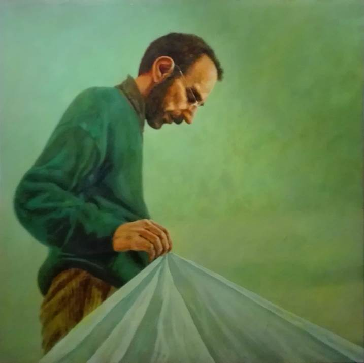 ao terceiro dia , original Human Figure Canvas Painting by Pedro Santos Silva