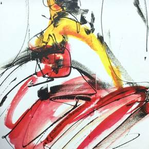 Dancer, original Abstract Printing Drawing and Illustration by Milli Birlo