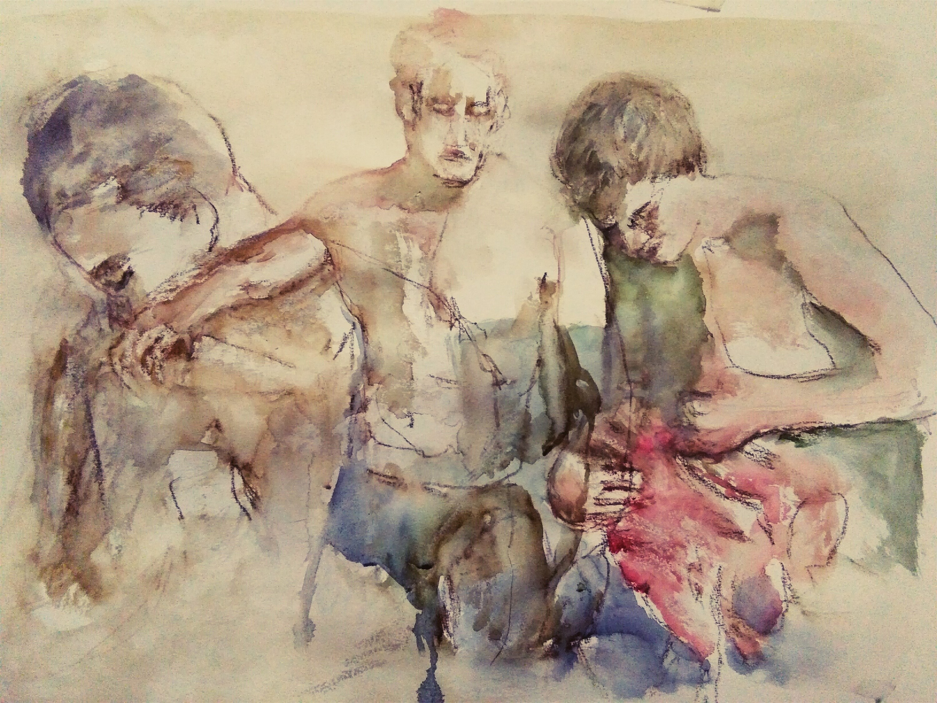 Waiting Hoper, original Human Figure Watercolor Painting by CARLA GONCALVES