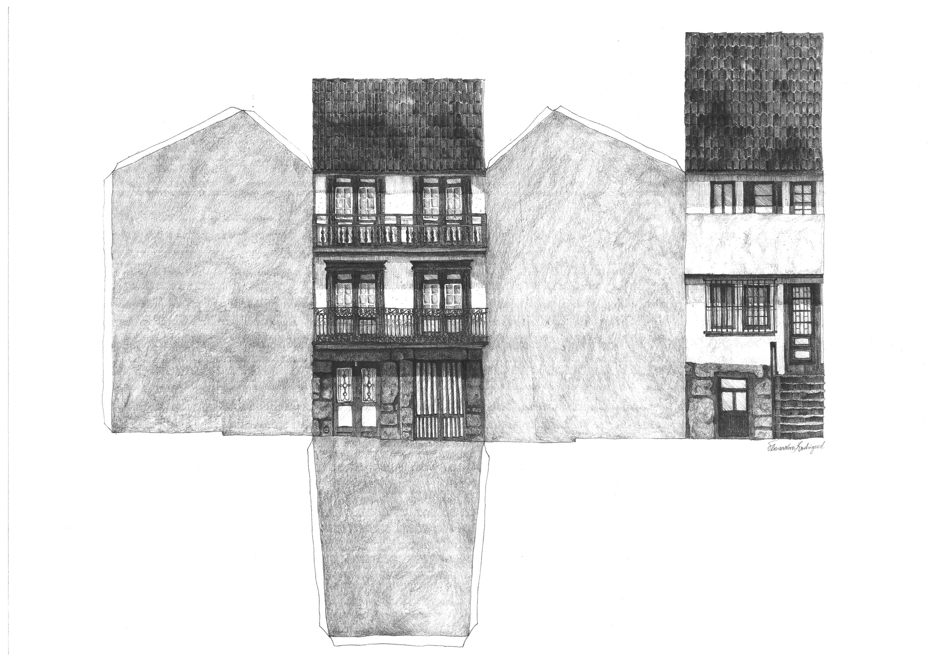 Planificação casa, Guimarães, original Places Pencil Drawing and Illustration by Florisa Novo Rodrigues