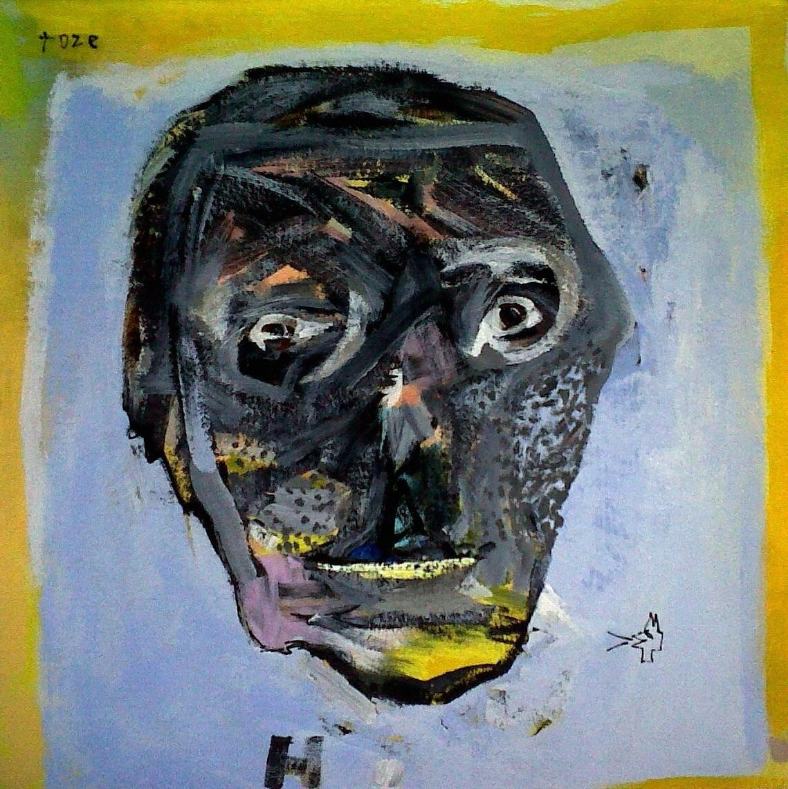 Black Head, original Human Figure Acrylic Painting by Toze Figueiredo
