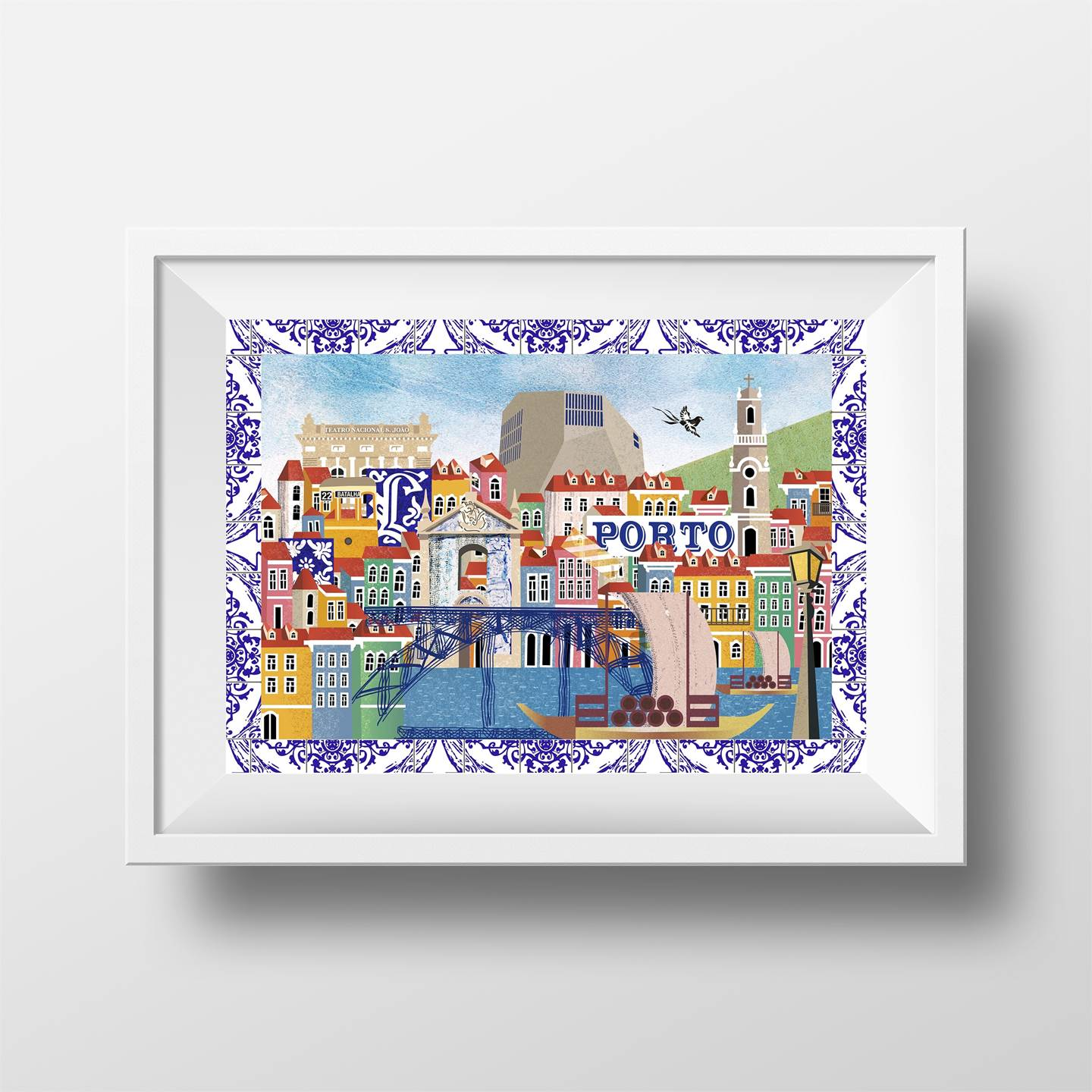Porto, original Landscape Collage Drawing and Illustration by Maria João Faustino