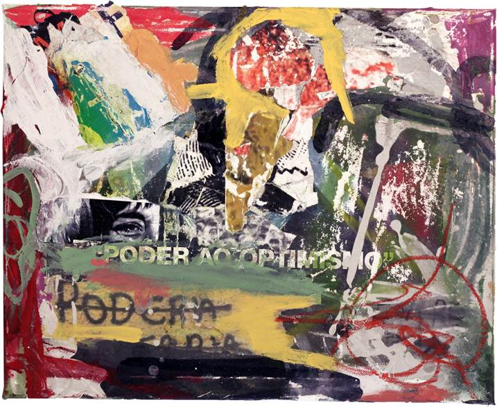 Poder ao optimismo, original Avant-Garde Canvas Painting by Alexandre Rola