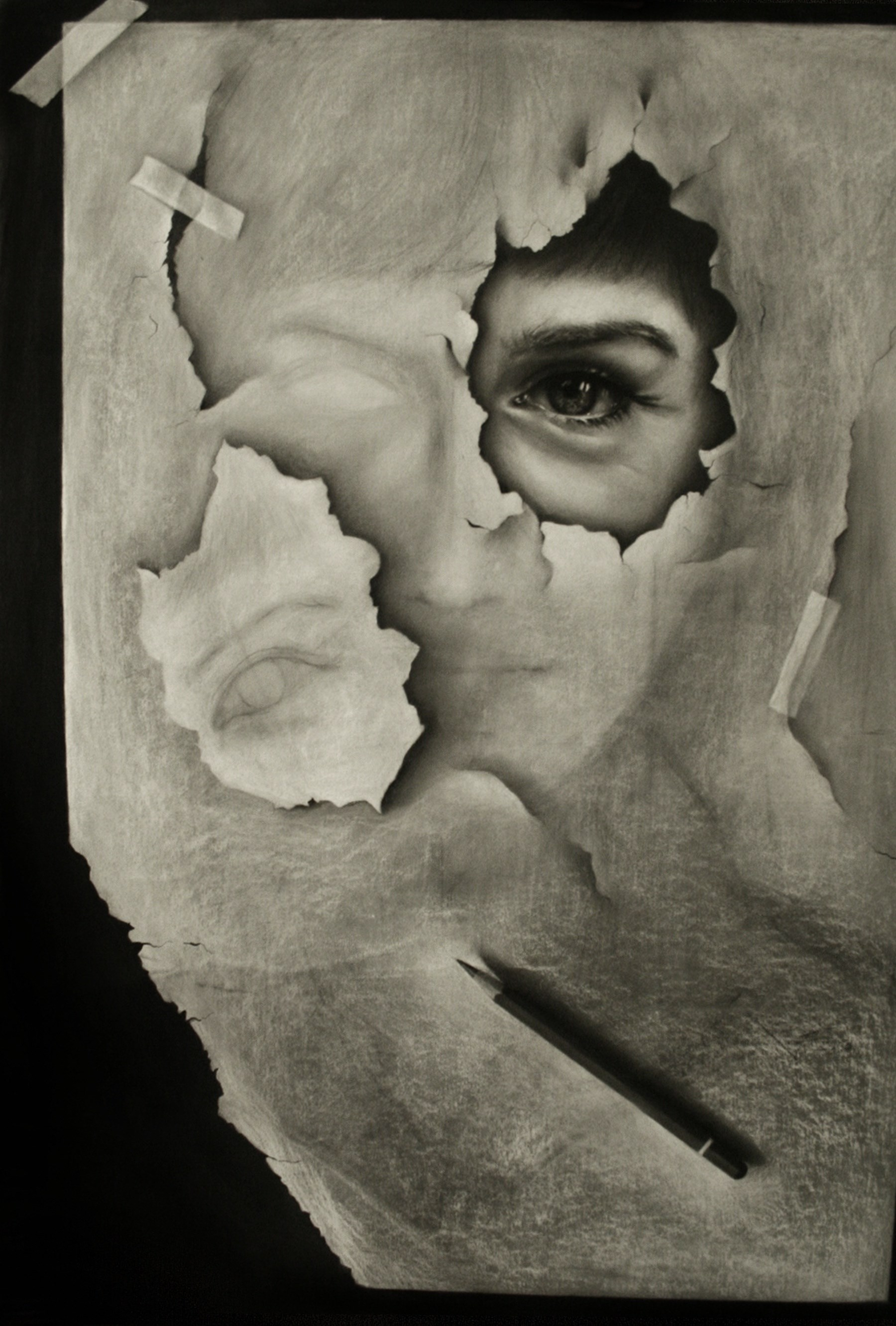 Surreal, original Portrait Charcoal Drawing and Illustration by Cris D.K.