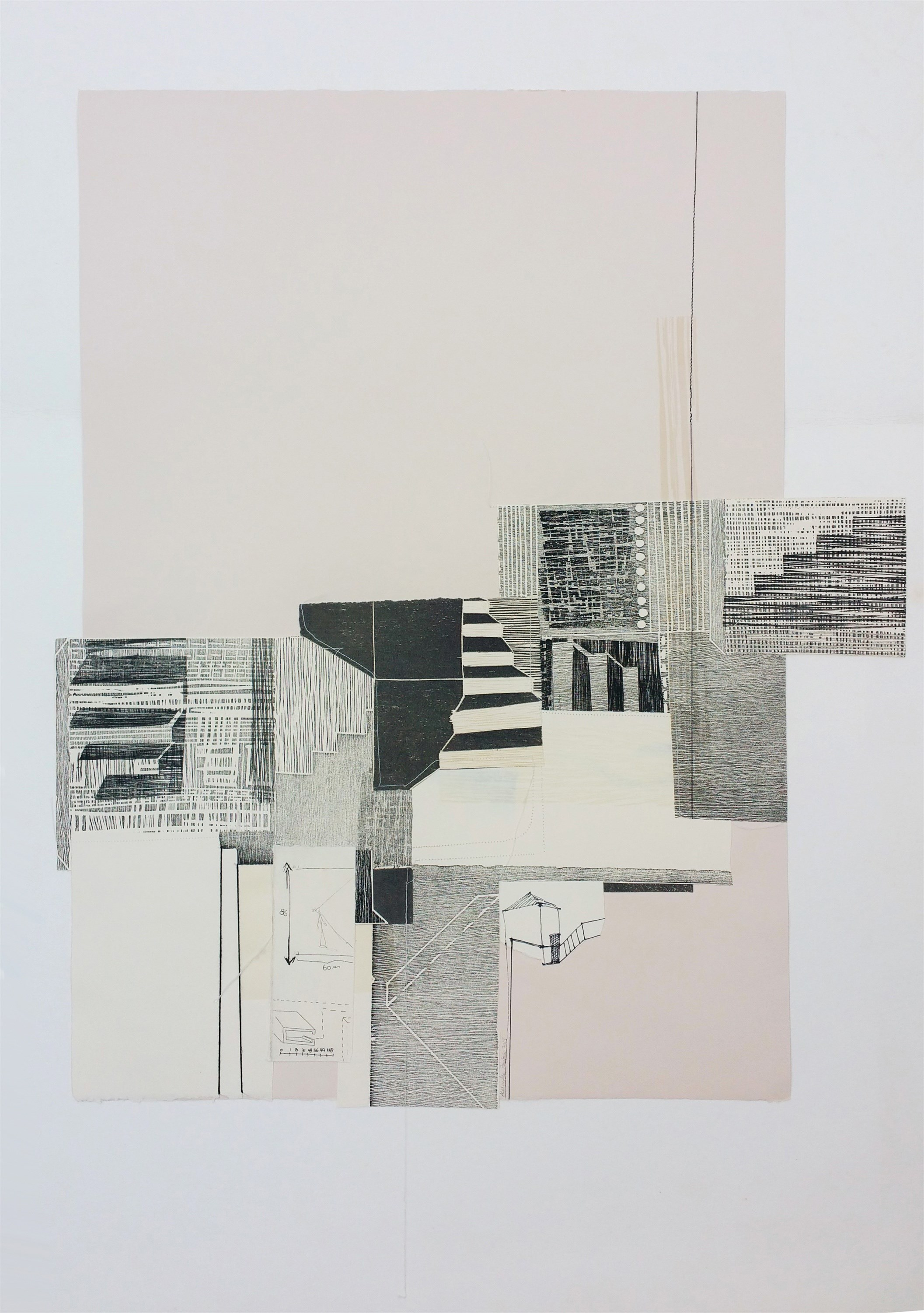 Espaço habitado, original Abstract Collage Drawing and Illustration by Alexandra Barbosa