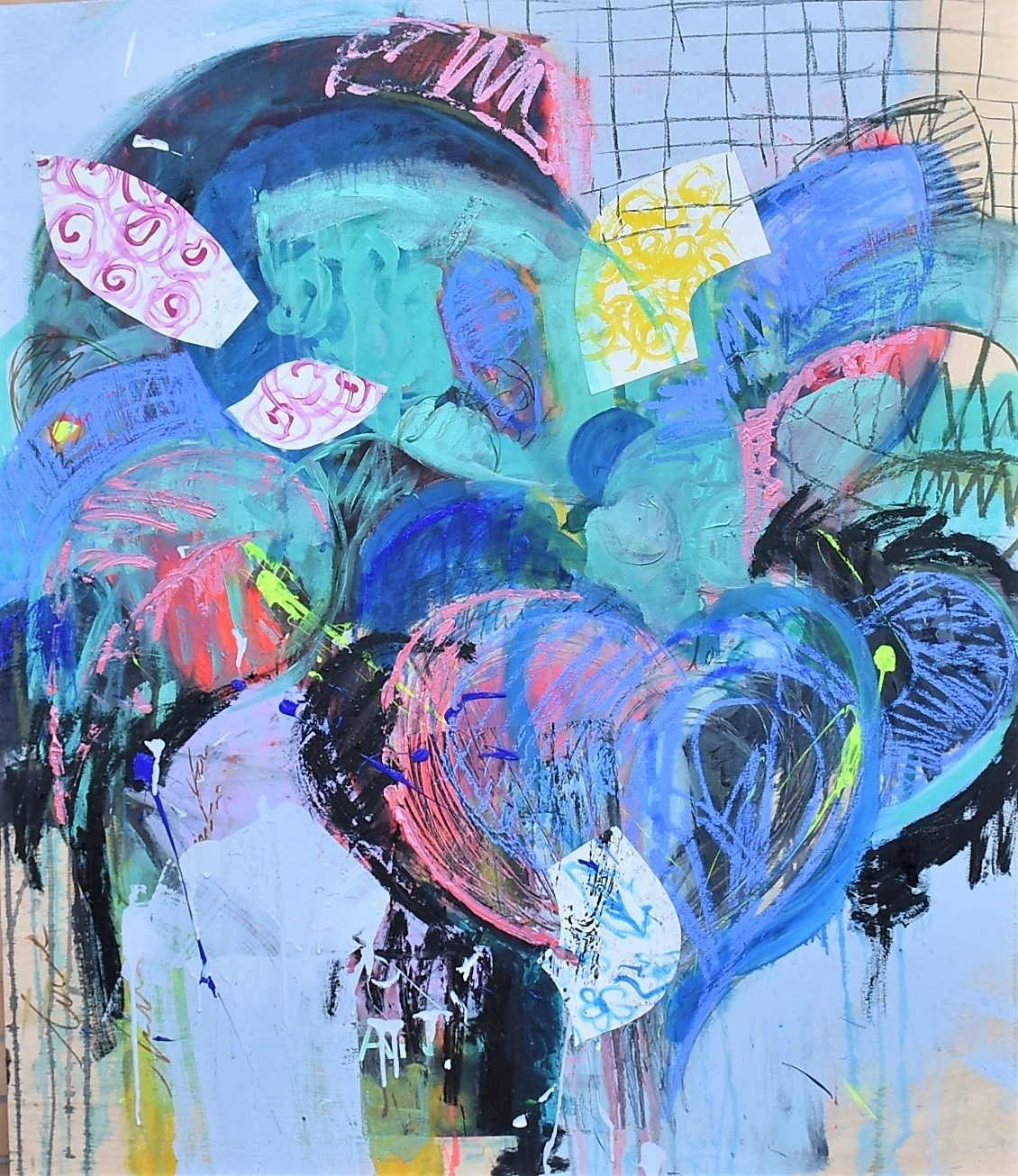 The Two Lovers, Pintura Técnica Mista Abstrato original por ELISA  COSTA