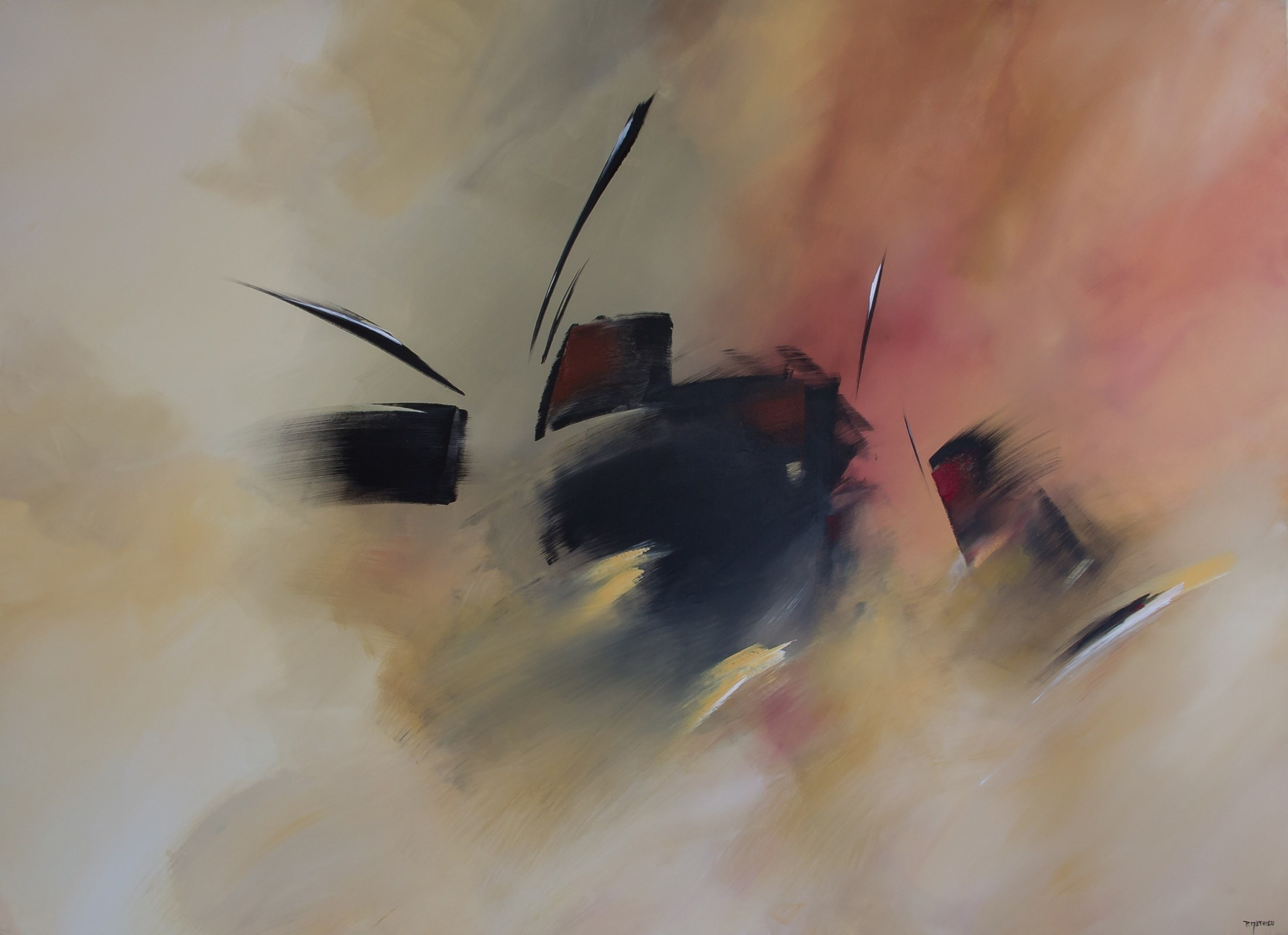 Samurai, original Abstract Acrylic Painting by Paul  Mathieu
