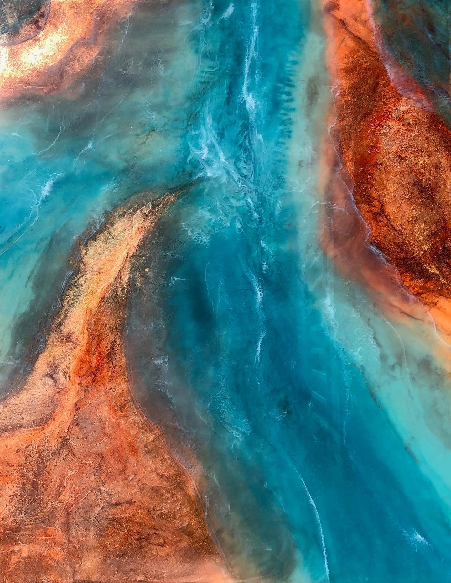 Canyon Rivers, original Nature Mixed Technique Painting by Tiffani Buteau