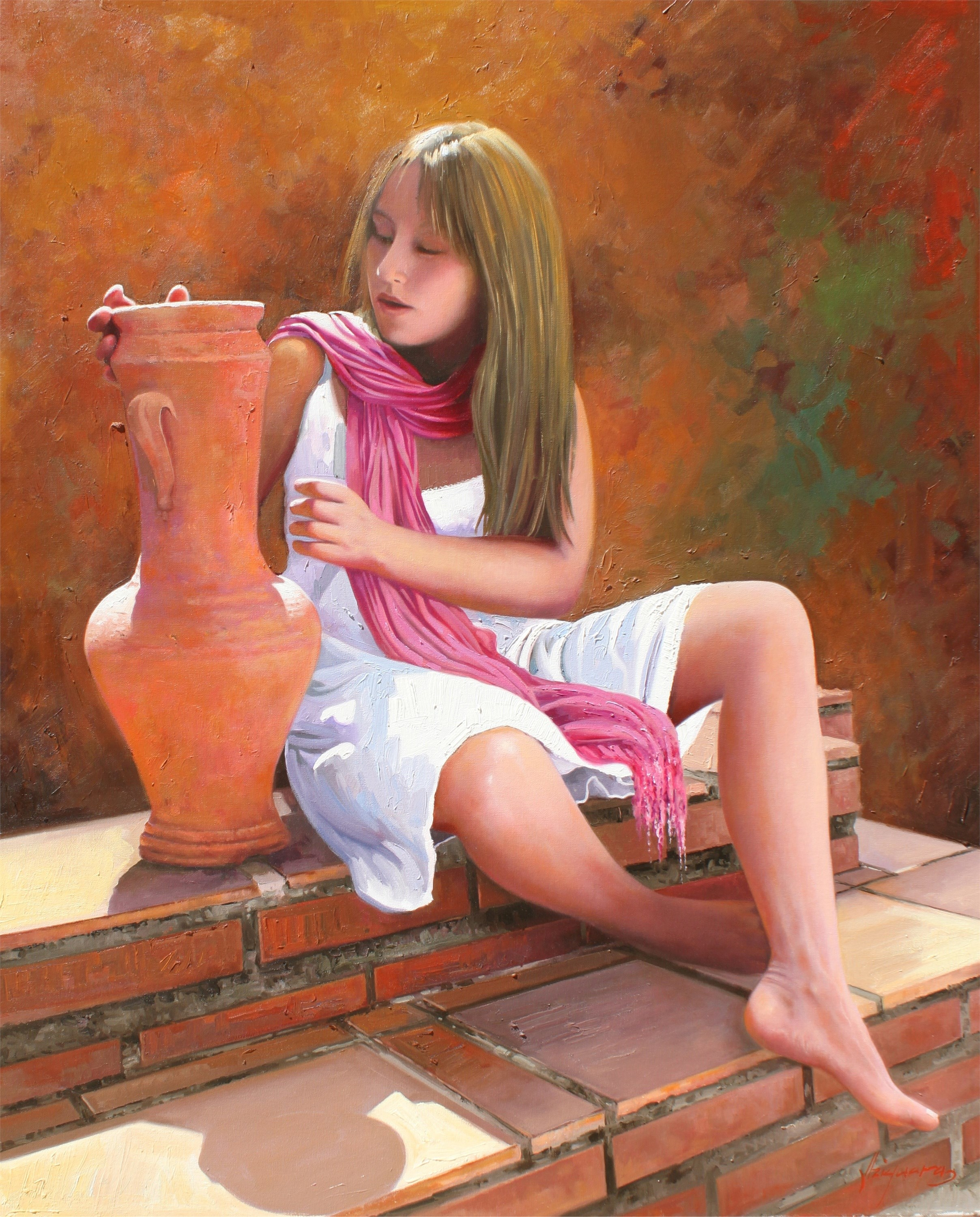 Elena, original Human Figure Canvas Painting by Jose Higuera