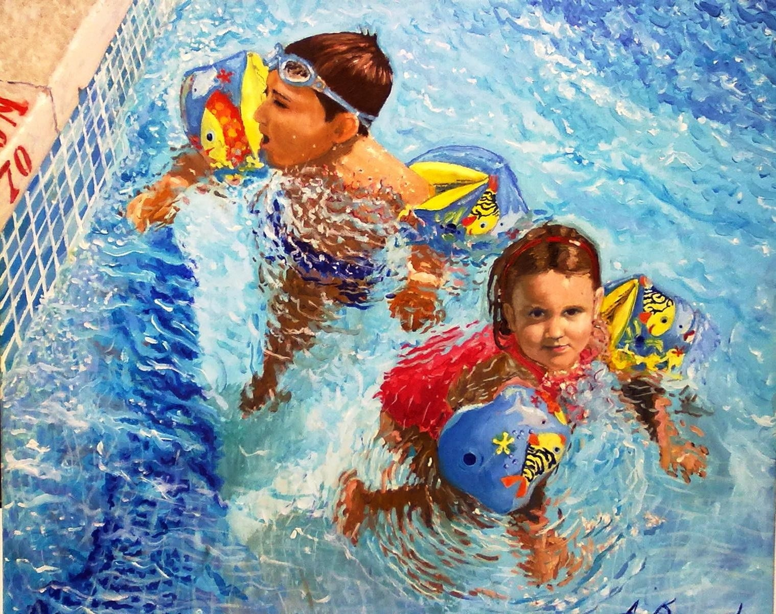 Kids to the pool , original Human Figure Canvas Painting by Antonio Bocero