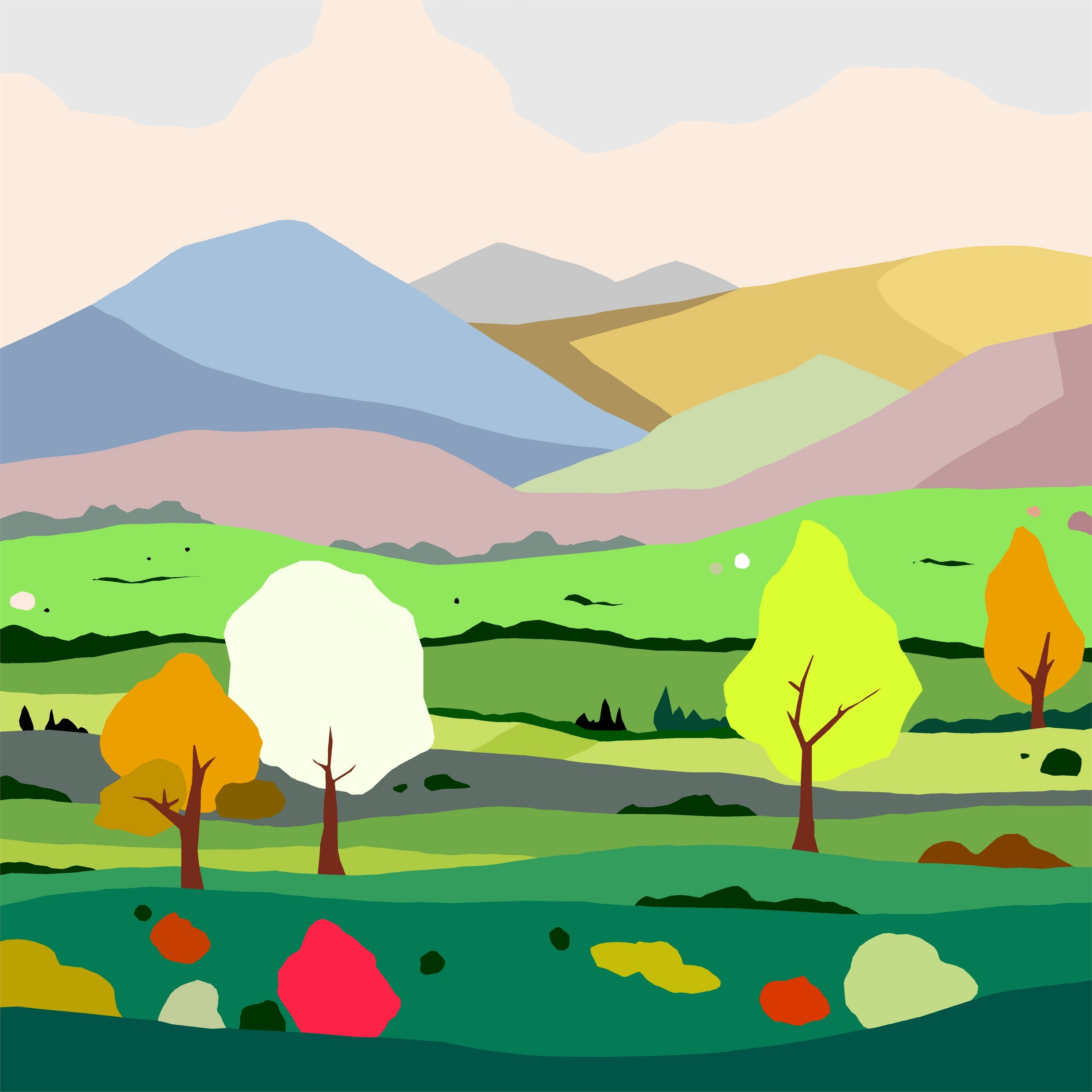 Fields (campos), original Nature Digital Drawing and Illustration by Alejos Lorenzo Vergara