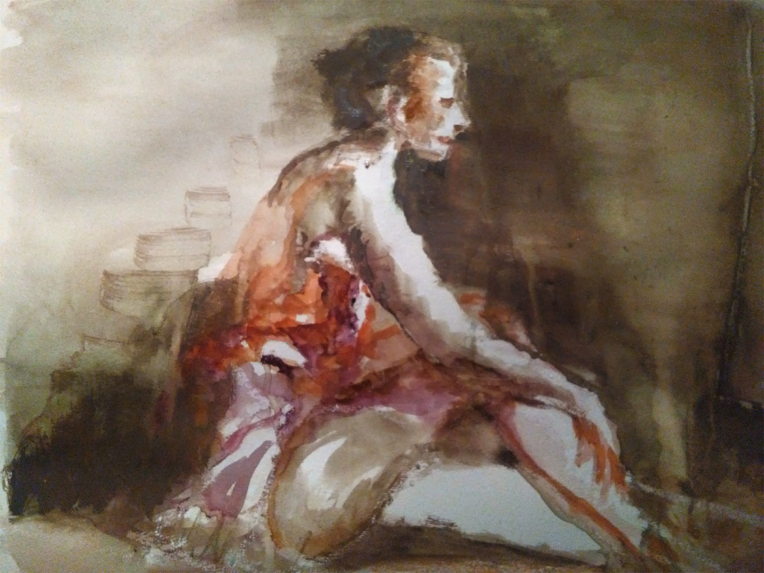 Waiting Hopper, original Human Figure Watercolor Painting by CARLA GONCALVES