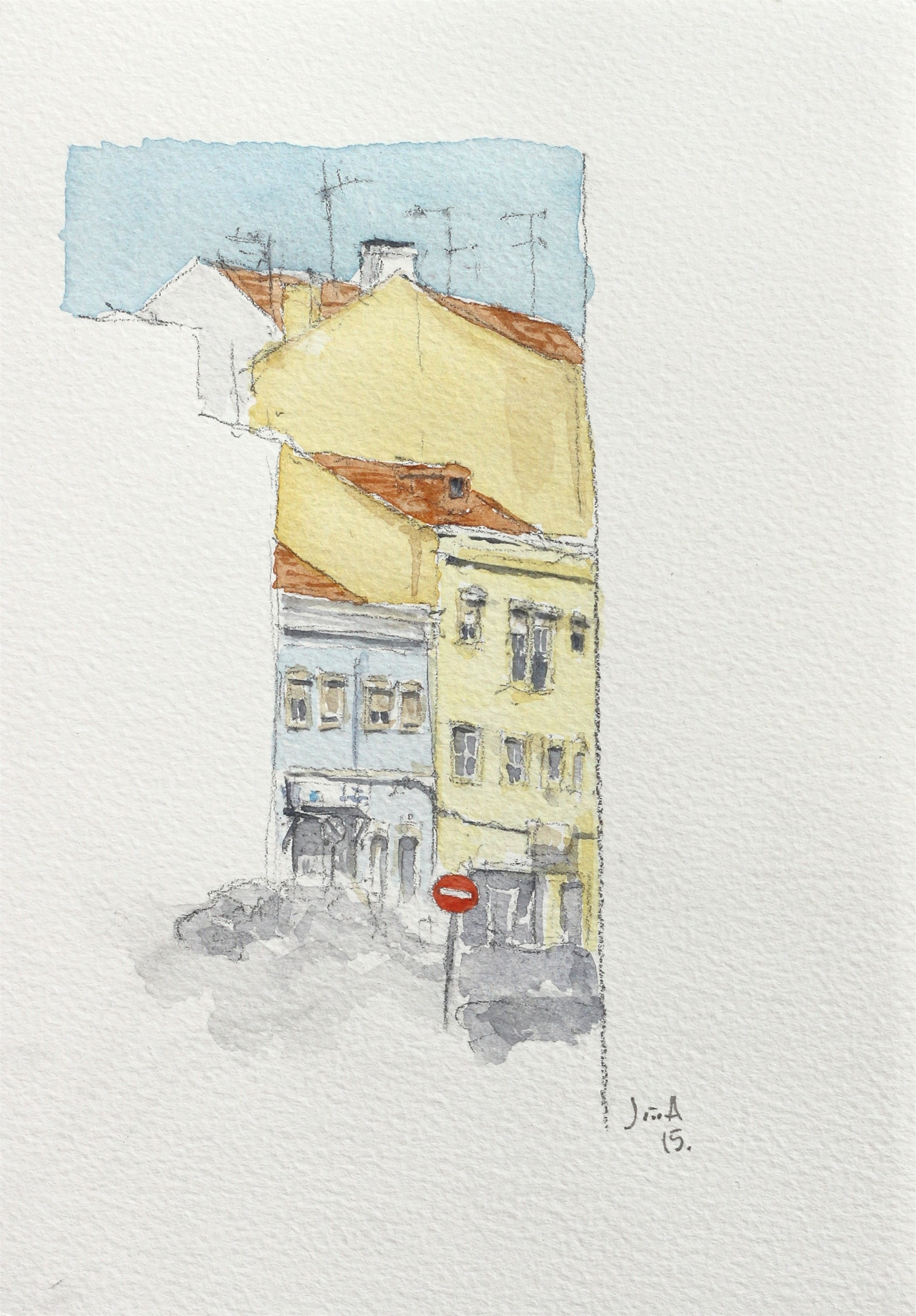 Sentido proibido, original Architecture Watercolor Drawing and Illustration by João Gil Antunes