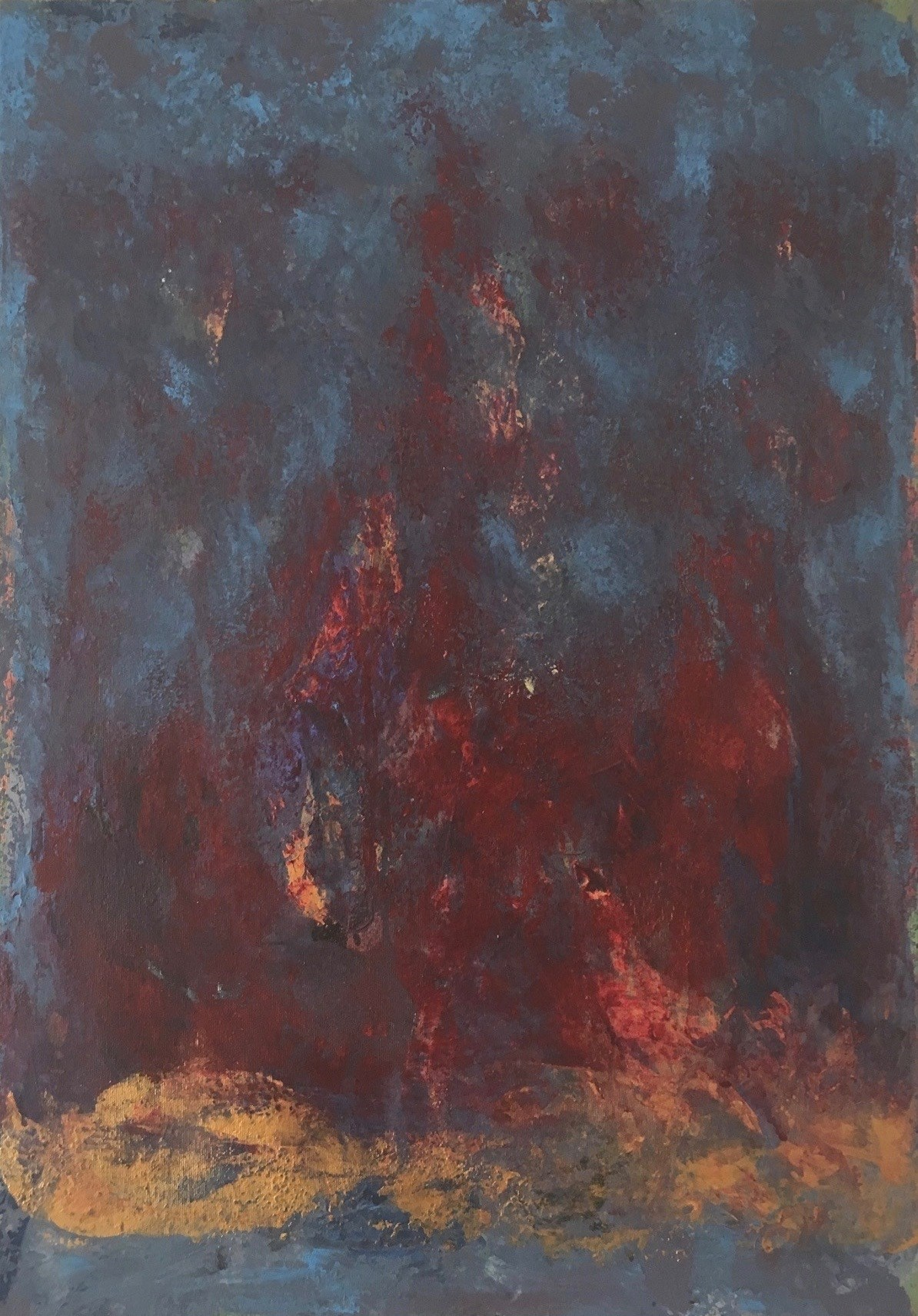 The voice of the Flame, Pintura Acrílico Abstrato original por Andrés Montenegro