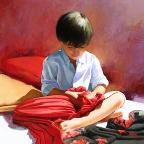 Scarves, original Human Figure Oil Painting by Jose Higuera