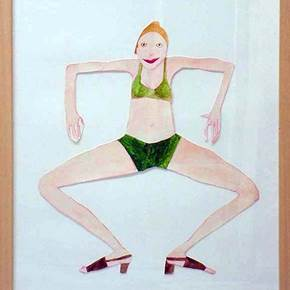 Female Papper Puppets, original Body Watercolor Painting by Vanessa Beecroft