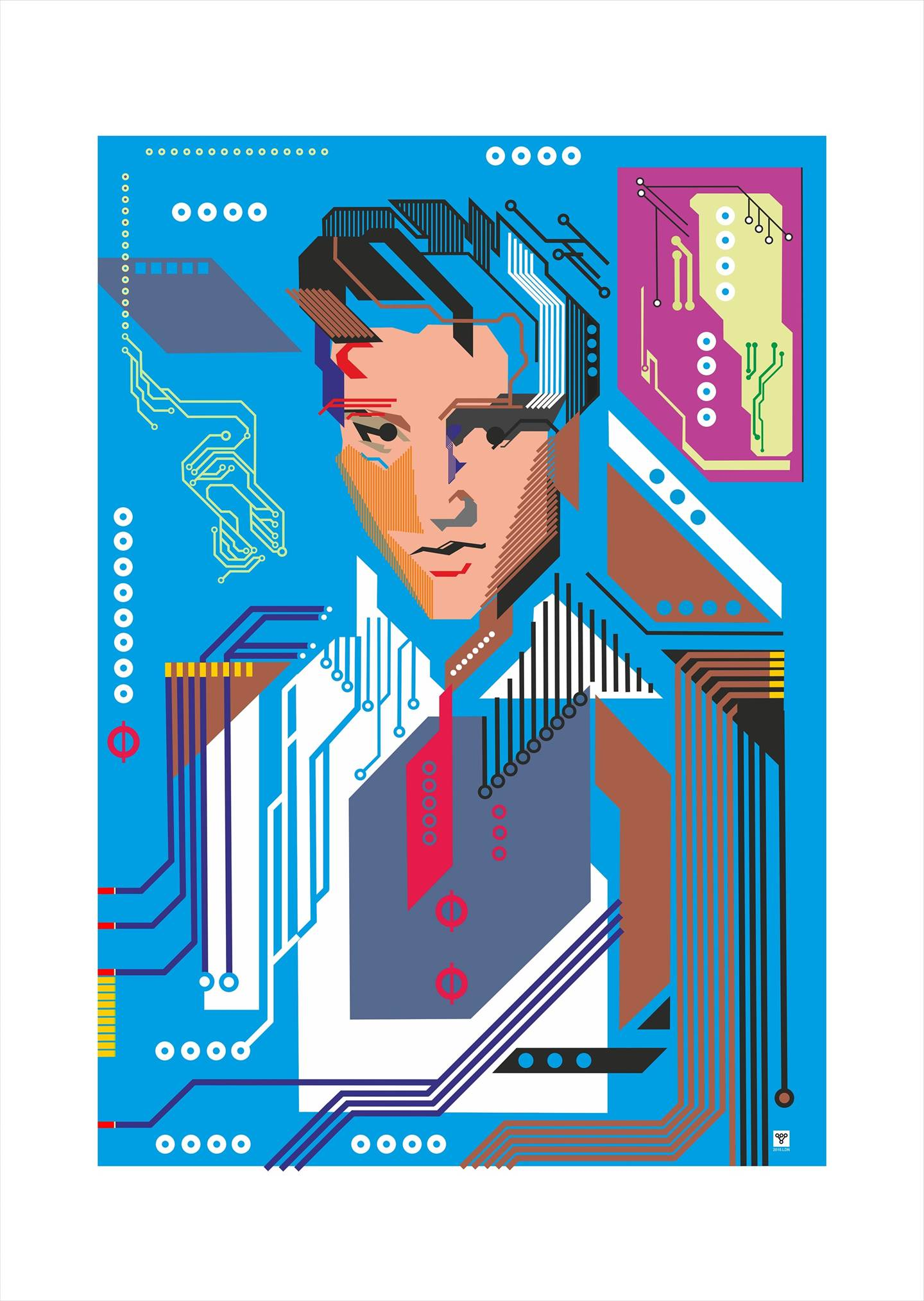 Elvis Presley, digital portrait, original Geometric Digital Drawing and Illustration by Vitaly (VITALIV) Vinogradov