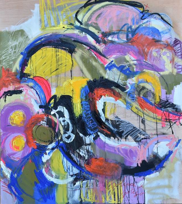Liberty Being # I, original Abstract Mixed Technique Painting by ELISA  COSTA