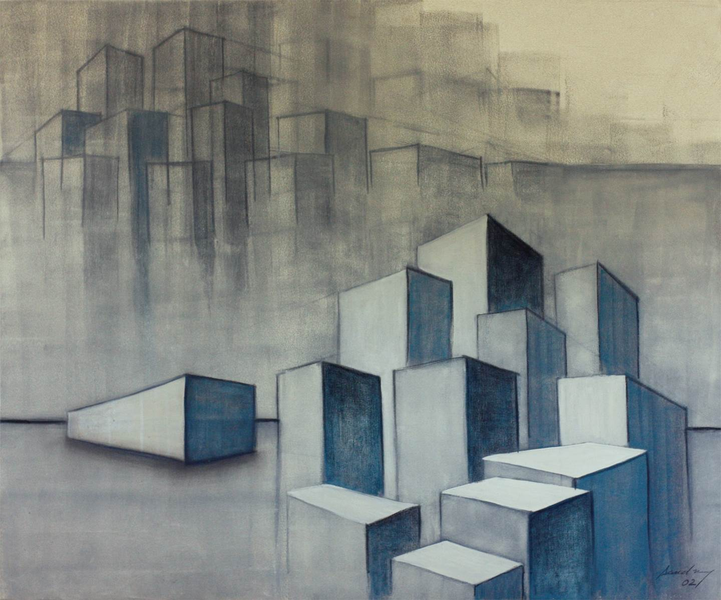 Urbe V, original Places Acrylic Painting by SANDRINE CORDEIRO