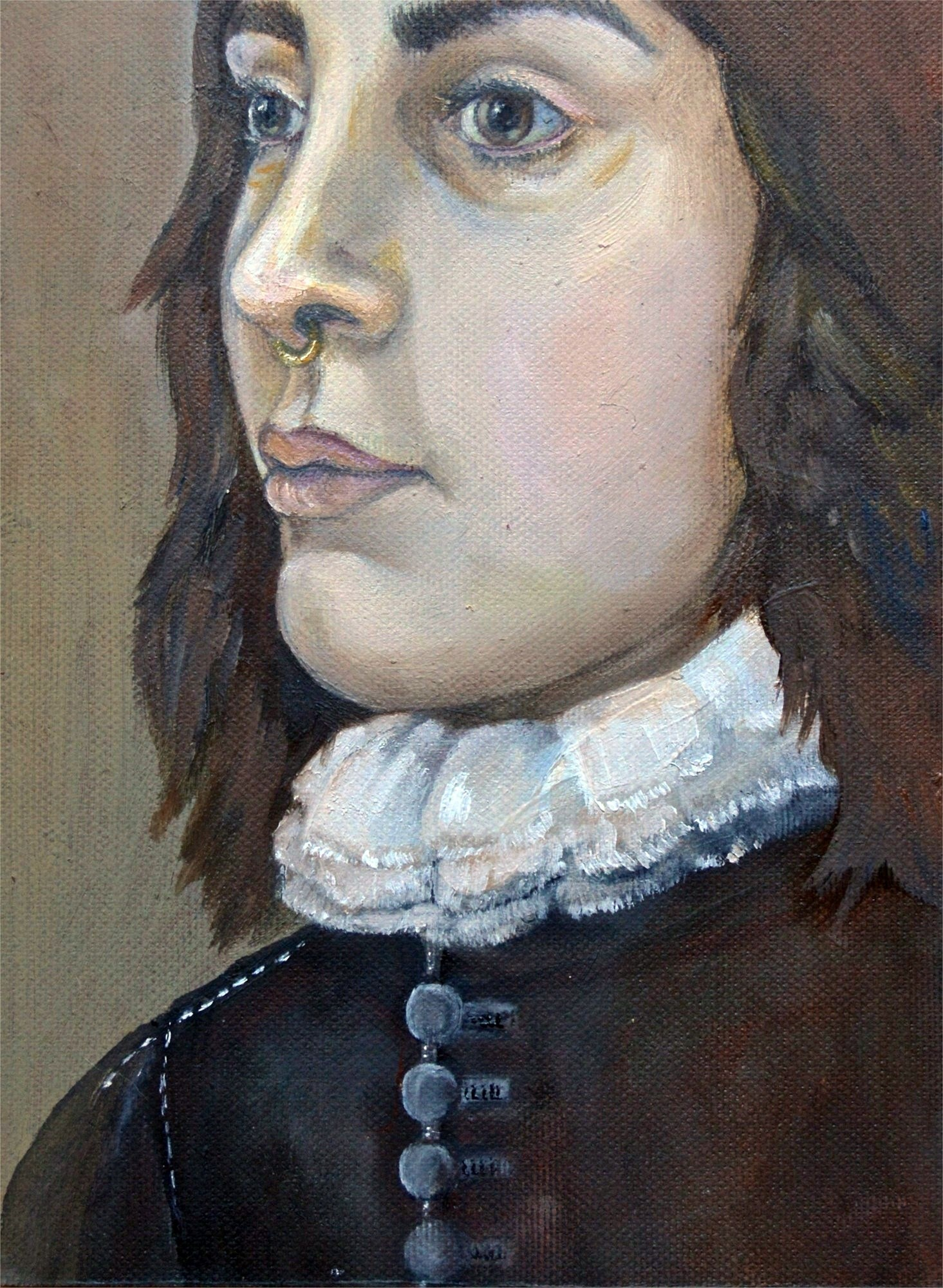 Portrait of a boy, original Human Figure Paperboard Painting by Francisca  Sousa