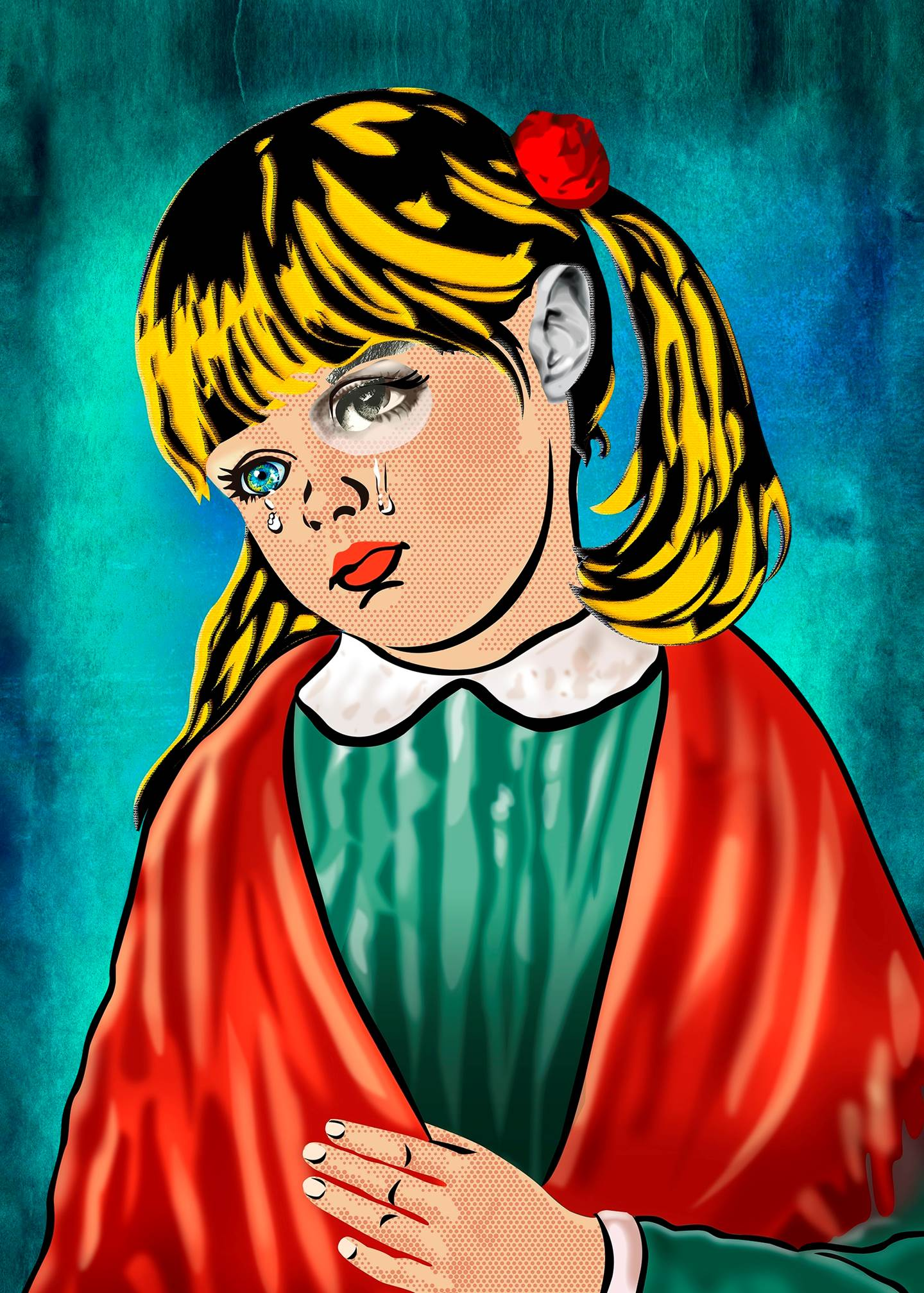 Menina da Lágrima (Tela), original Avant-Garde Canvas Drawing and Illustration by Maria João Faustino