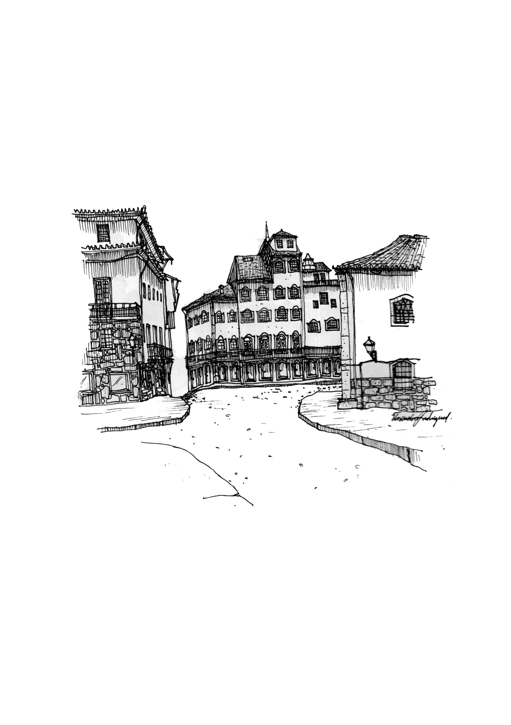 Esquisso 4, original Places Pen Drawing and Illustration by Florisa Novo Rodrigues