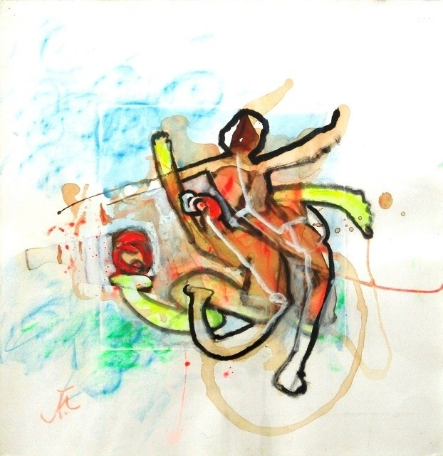 Bolff, original Abstract Acrylic Painting by Roberto Matta