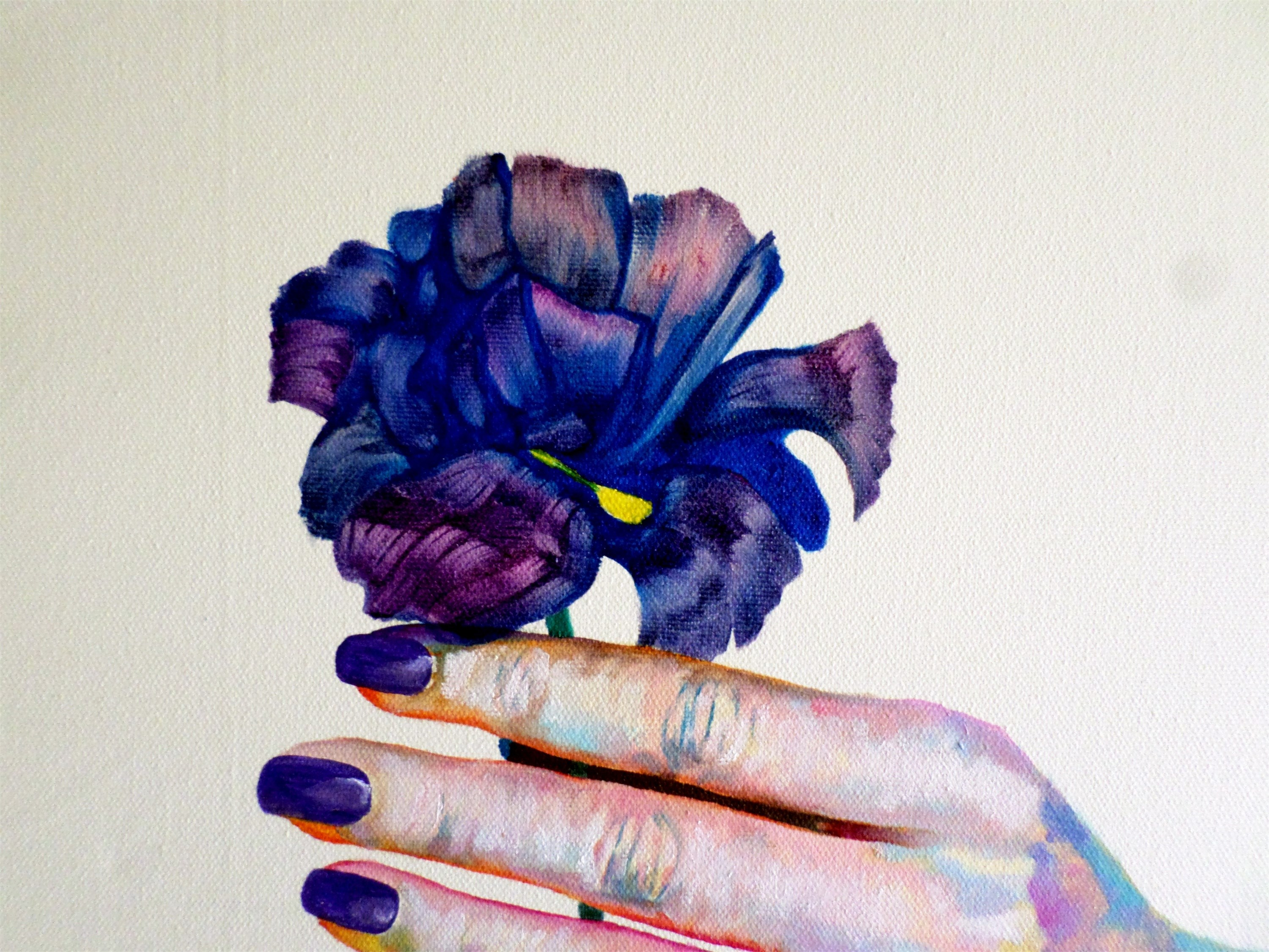 The colored flower, original Body Canvas Painting by Julian Arsenie