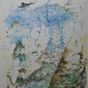 Por Enquanto Há Castelos Nas Nuvens, original Abstract Watercolor Painting by Ana Maria Pintora