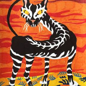 Gato zebrado, original Abstract Paper Drawing and Illustration by Hugo Castilho