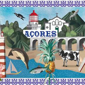 Açores (tela), original Landscape Canvas Drawing and Illustration by Maria João Faustino