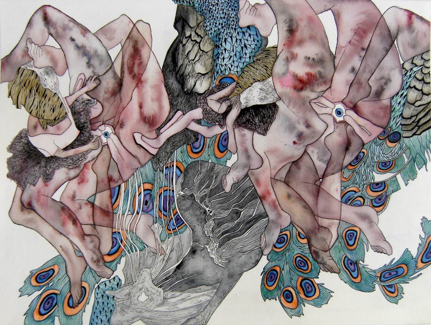 Twins, original Body Watercolor Drawing and Illustration by lorinet julie