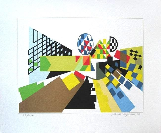 Perspectiva III, original  Silkscreen Drawing and Illustration by Nadir Afonso