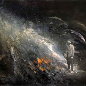 A fogueira (The Bonfire), original Big Oil Painting by Hélio Luís