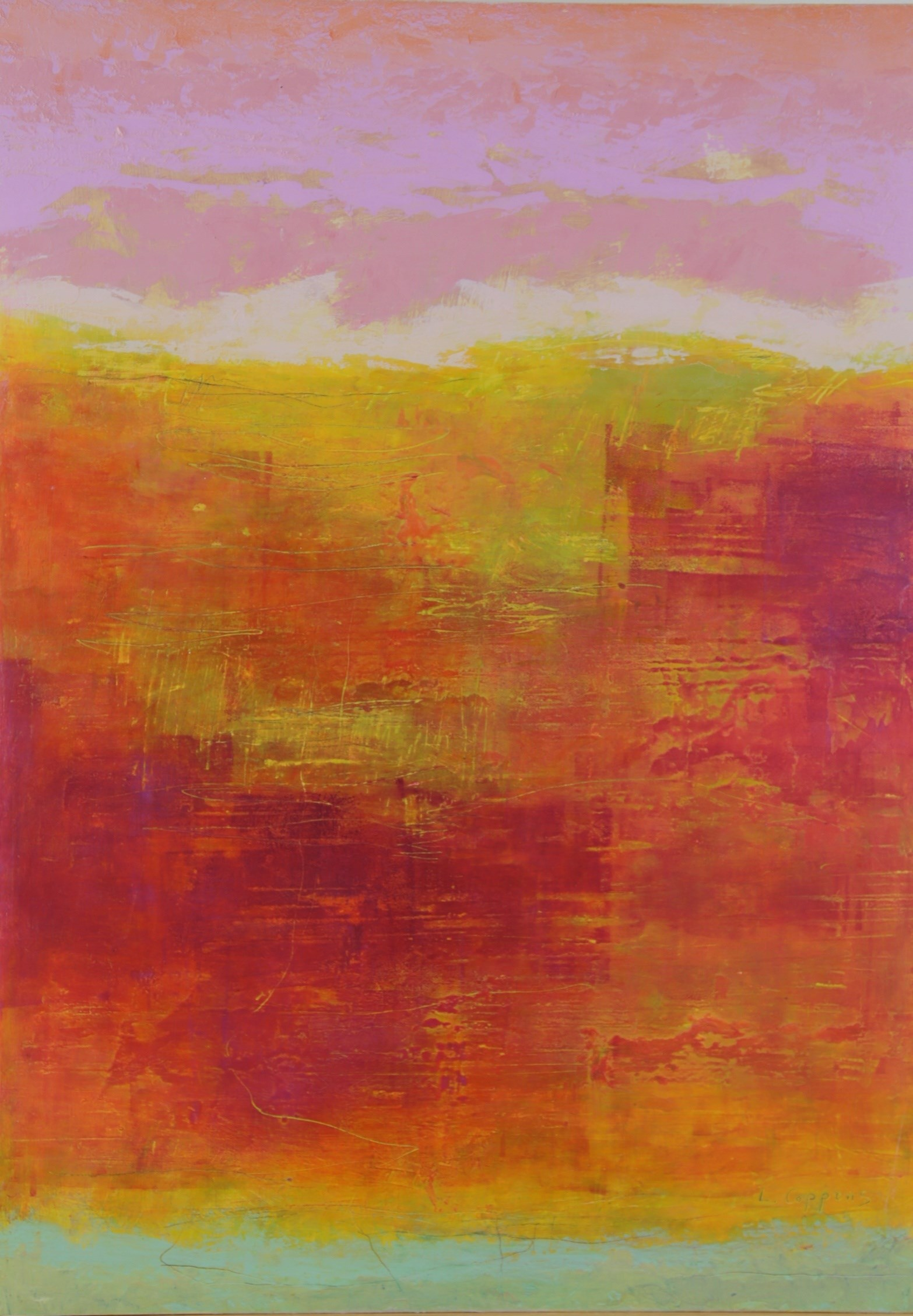 Listen to the sunset n7, original Abstract Oil Painting by Linda Coppens