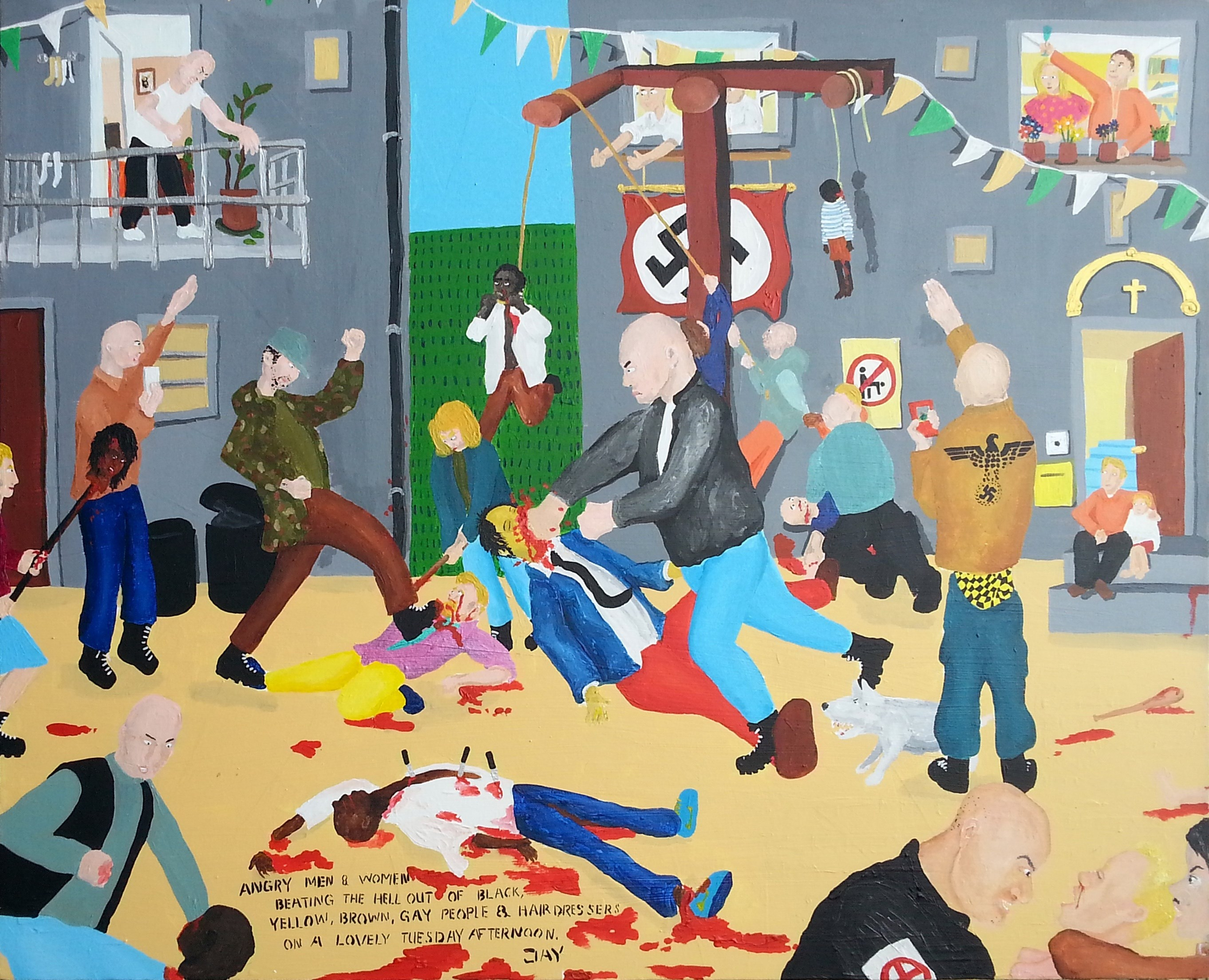 Bad painting number 01: Angry men & women beating the hell out of black, yellow, brown, gay people & hairdressers on a lovely Tuesday afternoon., Pintura Acrílico Vanguarda original por Jay Rechsteiner