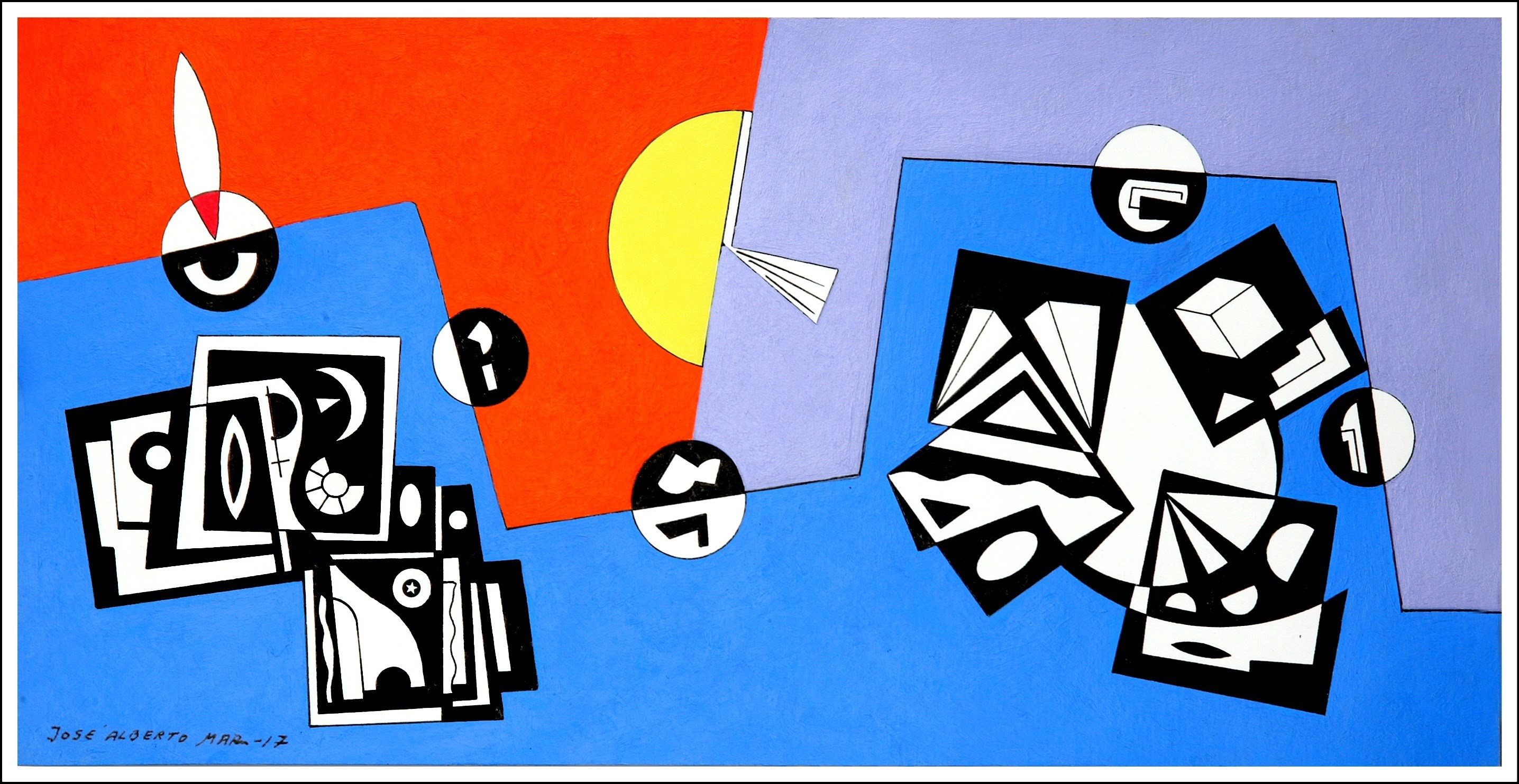 O Nascer do Sol.The Sunrise., original Geometric Acrylic Painting by José Alberto Mar
