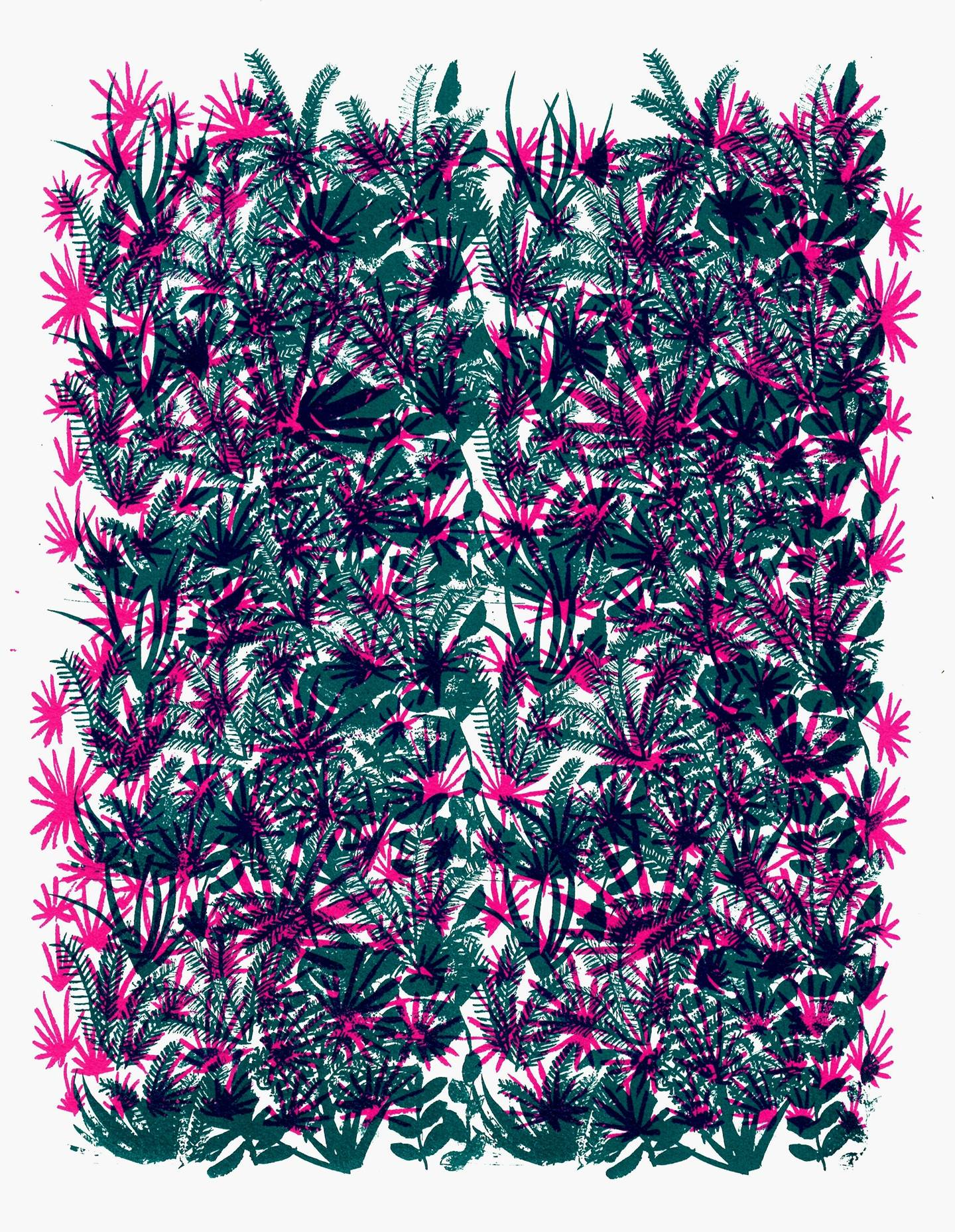Pattern 2, original Nature Silkscreen Drawing and Illustration by Teresa Rego