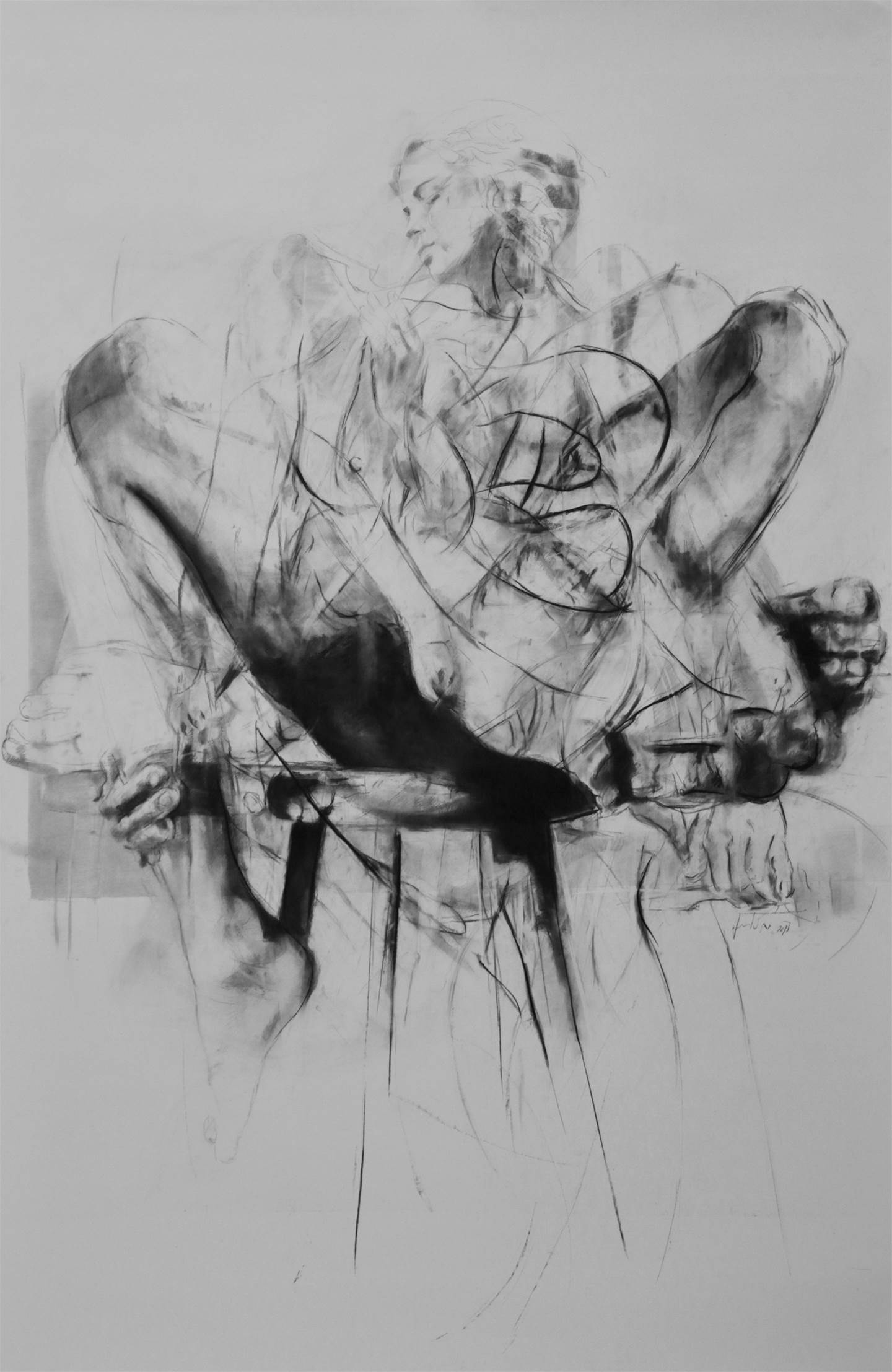 Erota (seated muse'2), original B&W Charcoal Drawing and Illustration by Juan Domingues