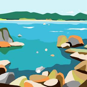 Rocks (Rocas), original Nature Digital Drawing and Illustration by Alejos Lorenzo Vergara