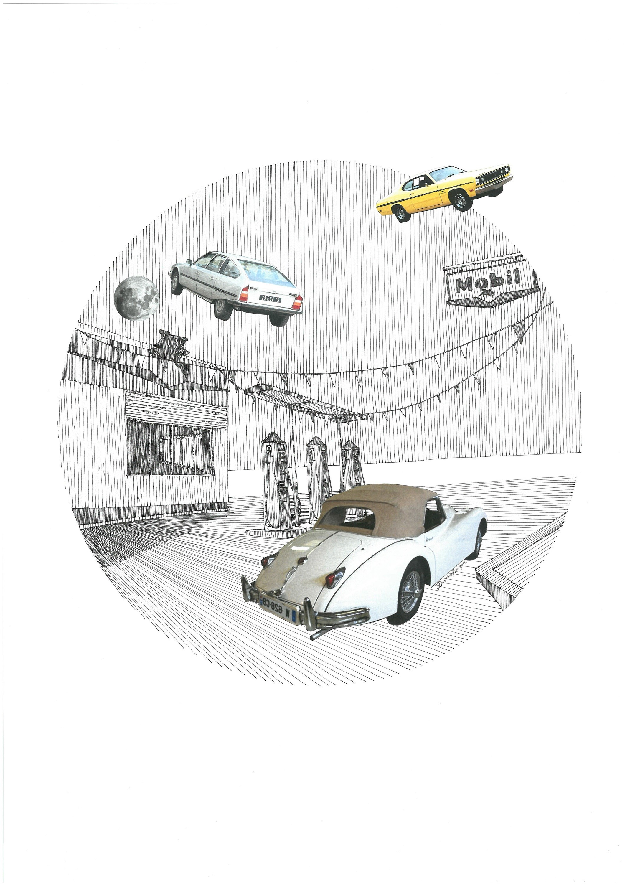 Jaguar E-Type Series III, original Architecture Collage Drawing and Illustration by Florisa Novo Rodrigues