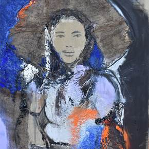 Woman in a Hat, original Woman Acrylic Painting by ELISA  COSTA