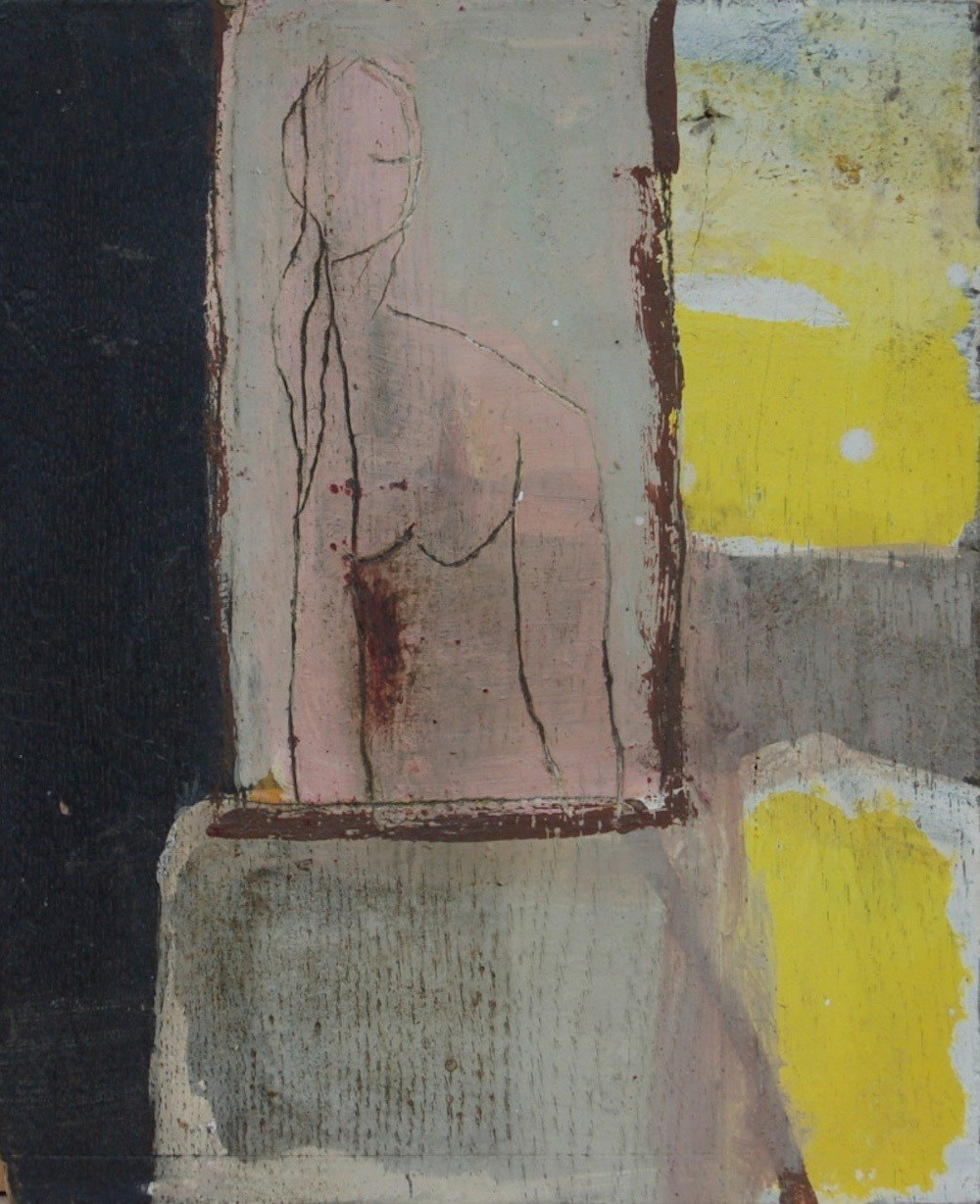 Figure in Yellow, original Abstract Mixed Technique Painting by Irene Maria-Amerbacher