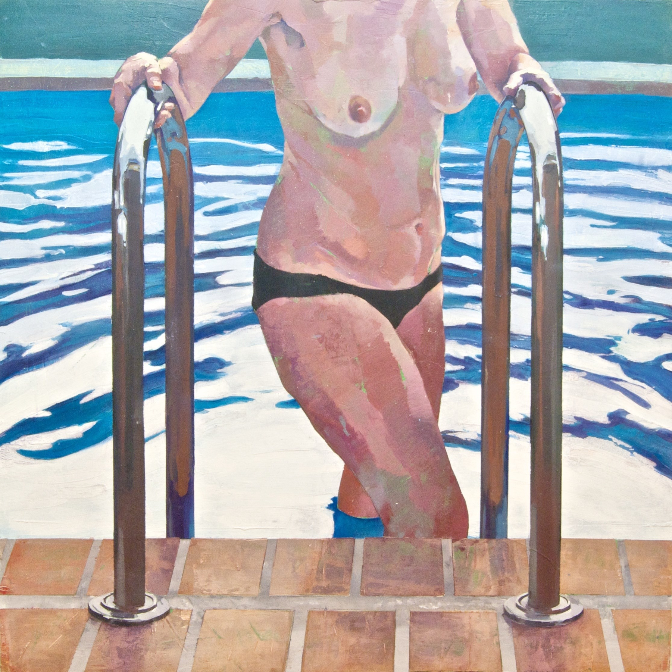 Escalera de piscina a contraluz., original Body Oil Painting by Alejandro Casanova