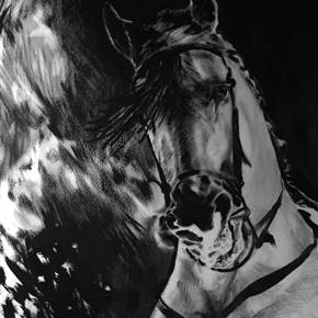 Fire Horse I, original Animals Mixed Technique Painting by BeckenFilipe .