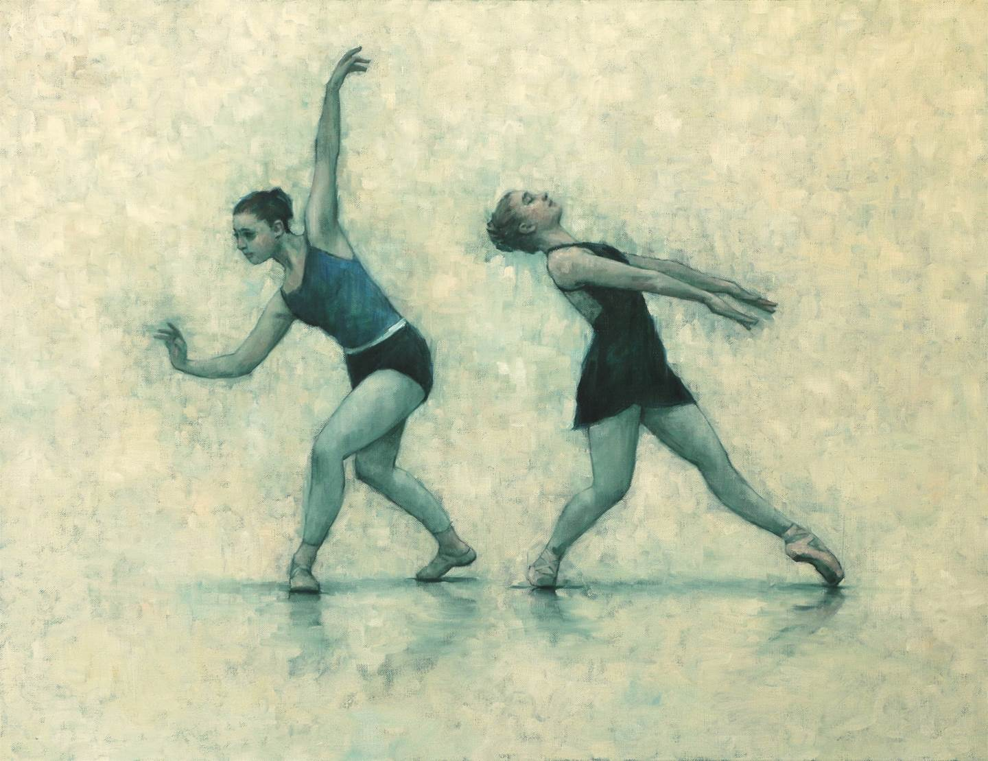 Colleen Grace and Michelle Skuce (Ballet Cymru rehearsal 155), original Big Canvas Painting by Carl  Chapple
